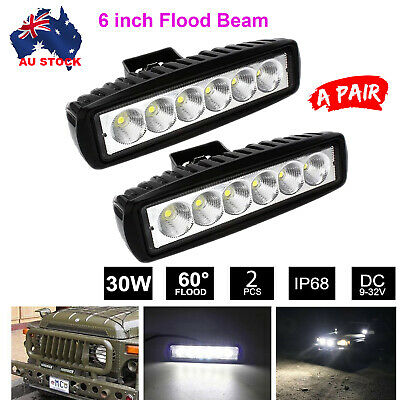 AU18.49 • Buy 2PCS 6 Inch CREE LED FLOOD Light Bar Work Reverse Offroad 4x4 SUV Driving Lamps