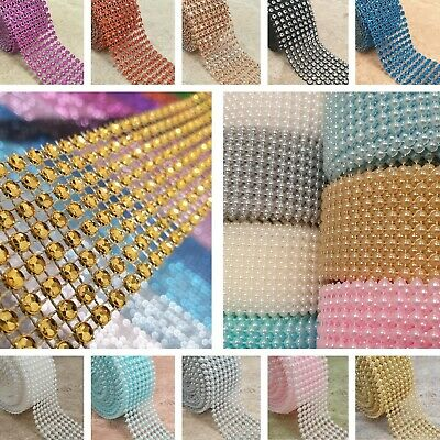 DIAMANTE Or PEARL RIBBON MESH 8 Row Wide Cake Trim Wrap Wedding Craft Bling 1M • 2.79£