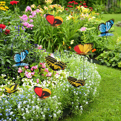 50x Colorful Garden Ornaments Butterflies On Stick Garden Stakes Yard Party Deco • 5.76£