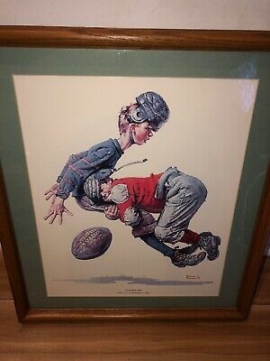 $ CDN100 • Buy Norman Rockwell Prints Framed Post Cover 1925 Tackled Youth Football Custom