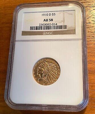 $ CDN917.56 • Buy 1910 D $5 Gold Indian Head Half Eagle Low Mintage