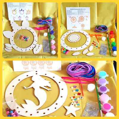 Make Your Own Wooden Dreamcatcher Kit ~ Mermaid, Pirate, Unicorn, Heart, Circles • 6.95£