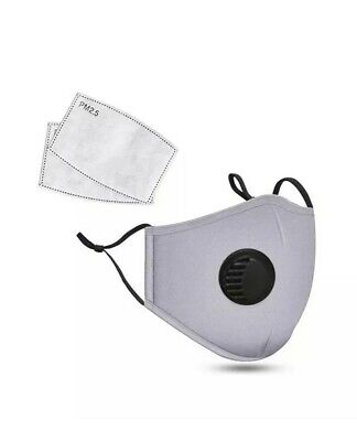 £3.99 • Buy Washable Reusable Cotton Fabric Face Dust Mask Respirator & 2 X PM 2.5 Filters