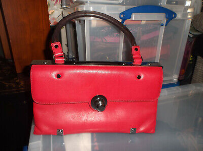 Genuine Lanvin Paris Red Leather Shoulder Bag/handbag Designer Made In Italy • 150£