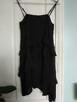 Topshop Black Tiered Frill Strappy Cami Dress 8 Bnwt New • 2.99£