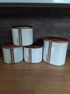 Retro Rayware Tea/coffee/suger/biscuit Ceramic Storage Set With Wooden Lids • 30£