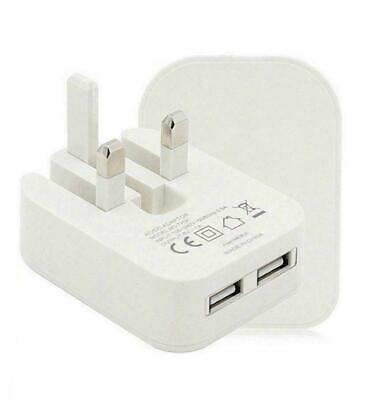 £4.99 • Buy 2 AMP Fast Dual Twin 2 Port USB Folding Charger UK Mains Wall  With Free Cable