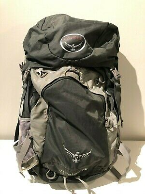 $76 • Buy Osprey Stratos 36L Gray Hiking Camping Backpack Men's Medium Large W/ Raincover