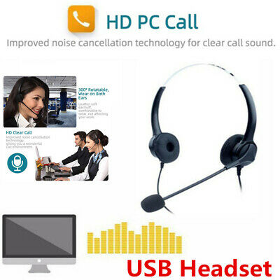 USB Wired Computer Headset Over Ear Headphones For PC Call Center Calling Skype • 15.99£