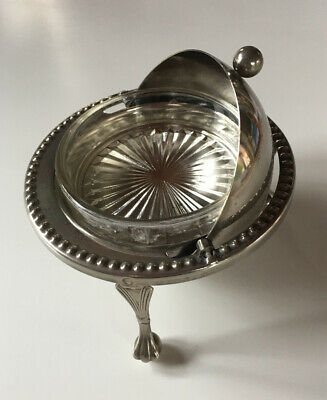 Vintage Silver Plated Roll Top Butter Pickle Dish Complete With Glass Insert • 15£