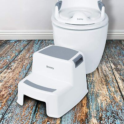 Dual Height Step Stool Non-slip Toilet Potty Training Kids Children Bathroom • 14.99£