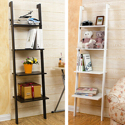 4 Tier Ladder Shelf Bookshelf Wooden Wall Mounted Storage Rack Shelving Unit • 30.95£