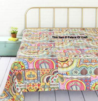 Indian Kantha Patchwork King Size Quilt Multil Bedspread Blanket Decor Throw • 54.99£