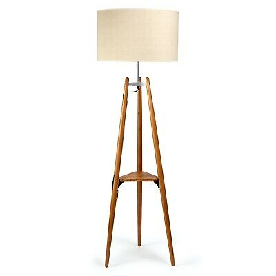 AU289 • Buy Natural Bamboo Tripod Floor Lamp With Triangular Shelf And Beige Linen Shade