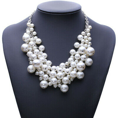 £8.28 • Buy Multi Layer Faux White Pearl Necklace Wedding Bridal Chain Jewellery Charm Gift