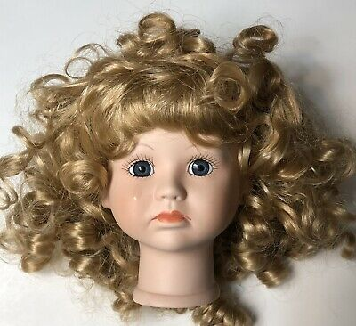 "$ CDN13.08 • Buy Doll Head Child Girl 4 1/2"" Parts Porcelain Crying Blonde Wig Blue Eyes"