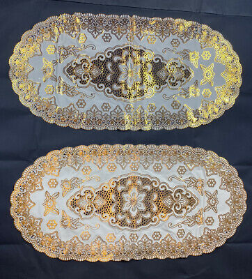 Oval Gold 2 Pack Pvc Place Mat Home Christmas Weddings& Any Occasions Table Deco • 5£