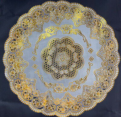 Gold Round Pvc Place Mat Home Christmas Weddings &any Occasions Table Decoration • 2.50£