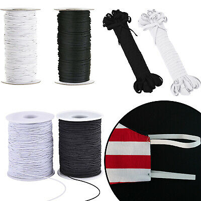 Elastic Round Flat Band Cord White Black Face Coverings Mask Sew Clothes PPE • 2.99£