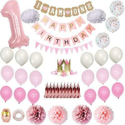AU23.61 • Buy 1st Birthday Party Decoration Foil Number Banner Balloons First Baby Shower Girl