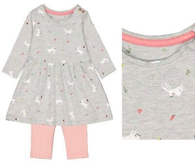 BNWT MOTHERCARE Baby Girls Cotton Bunny Rabbits Dress Leggings Set Easter Outfit • 8.95£