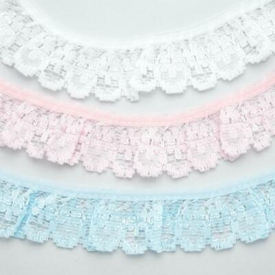 Gathered Lace Trim 32mm Frilled Nylon White Pink Or Blue • 2.75£