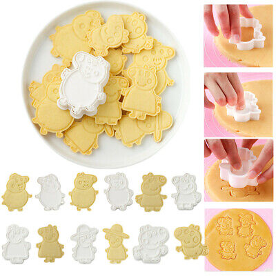 6pcs Set Peppa Pig Cookie Biscuit Cutter,Fondant Pastry Baking Cupcake Topper • 6.99£