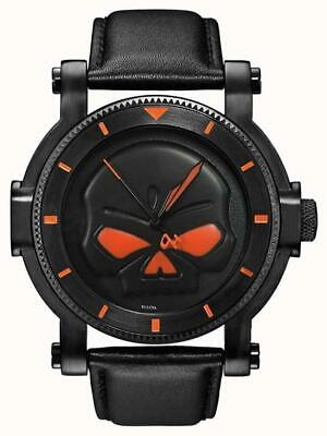 Harley Davidson 78A114 Men's Black Willie G Skull Stainless Steel Quartz Watch • 139£