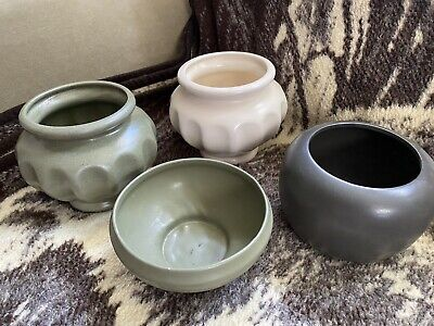 $30 • Buy 4 Mid Century Planters / Vases Haeger / Floraline Pottery Green Cream EUC Local