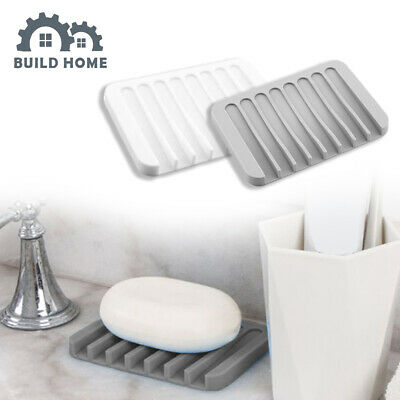 Bathroom Silicone Soap Dish Soap Holder Soapbox Plate Tray Drain Jewelry Holder • 2.49£