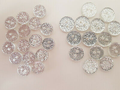 12mm / 15mm Silver Glitter Round Resin Baby/Children's Buttons - 10 20 50 Or 100 • 1.90£