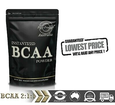 AU21.45 • Buy 500g Pure Bcaa 2:1:1 Instantised Amino Powder Unflavoured Pre And Post Workout