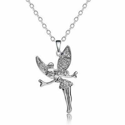 Tinkerbell Fairy Crystal Pendant Necklace Silver • 5.95£