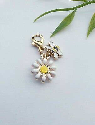 Enamel Daisy Flower & Bee Gold PL Bracelet,Necklace Clip-On Charm+Lobster Clasp • 2.95£