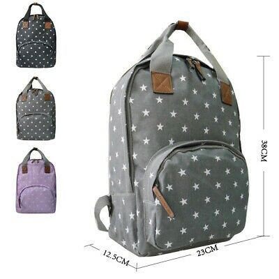 Oilcloth Backpack Star Pattern Grey/Black/Lilac • 11.99£