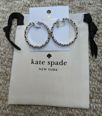 $ CDN52.83 • Buy NWT Kate Spade Silver Plated GATSBY DOT Linked Pave' Disc Hoop Earrings $98