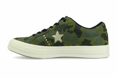Converse One Star Classic Chuck Taylor Unisex Nubuck Camo Green Mens Trainers • 82£