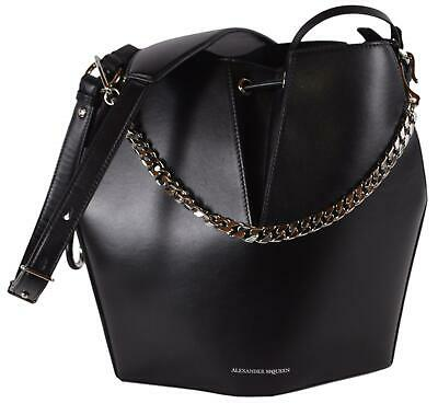 AU916.75 • Buy New Alexander McQueen $2,240 NICOLE Black Leather Bucket Chain Purse Bag 529415