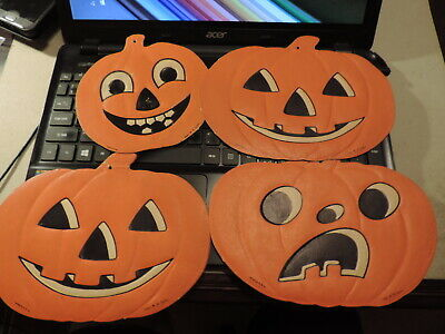 $ CDN52.78 • Buy Vintage Lot Of 4 H. E. Luhrs Die-cut Embossed Halloween Pumpkin Decorations