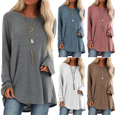 £7.19 • Buy Womens Long Sleeve Loose Tunic Tops Shirt Baggy Jumper Pullover Blouse Oversize