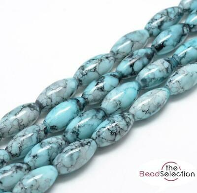 20 'WILD ORCHID' DRAWBENCH OVAL GLASS BEADS 22mm TEAL BLUE TOP QUALITY GLS18 • 2.49£