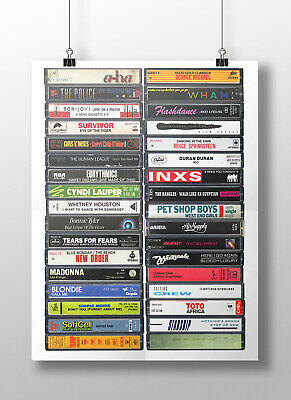 £13.29 • Buy 80's Singles Poster: Original Cassette Print, 1980s Classic Songs, Music Party