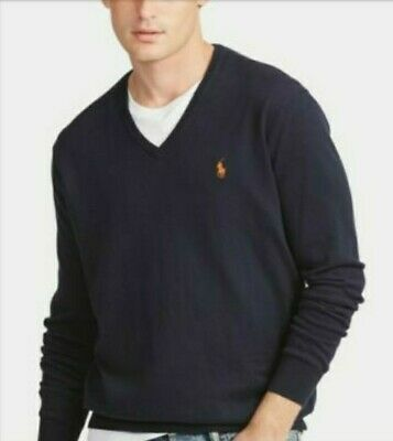AU39 • Buy Polo By Ralph Lauren Mens Navy Blue With Orange Pony Cotton Jumper Size S.