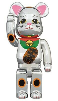 $415 • Buy Medicom Bearbrick Skytree Exclusive Lucky Cat Silve Light Up 400 Be@rbrick Japan