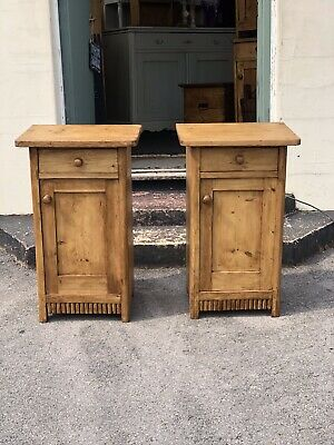 Antique Pine Pair Of Bedside Cabinets (#28) • 275£