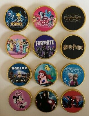 10  X THEMED CHOCOLATE COINS -  PARTY BAG FILLERS STOCKING FLLER - CHOOSE THEME • 3.99£
