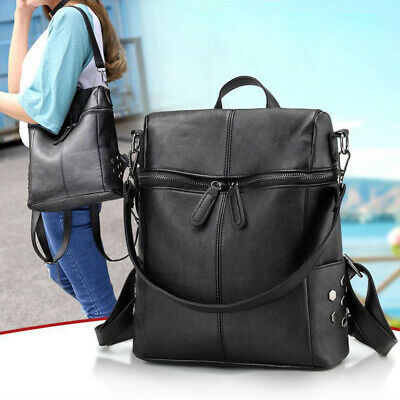 Women  Zipper Leather Backpack Anti-Theft Rucksack School Travel Bag Satchel UK • 9.79£
