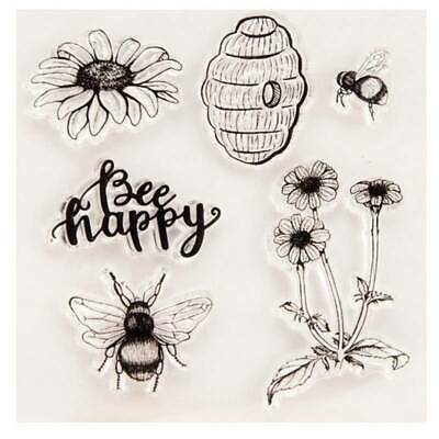 Bee Happy Silicone Clear Stamp Transparent Rubber Stamps DIY • 3.67£