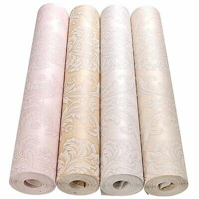 Victorian 3D Damask Wallpaper, In Pink, Cream, Gold, Light Gray, Self Adhesive • 13£