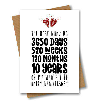 10th Anniversary Card - The Most Amazing Ten Years Of My Life - Him Her Wedding • 3.25£